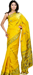Meadow-Yellow Baluchari Sari Hand-Woven in Bengal Depicting Mythological Episodes