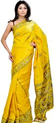 Meadow-Yellow Baluchari Sari Hand-Woven in Bengal Depicting Mythological Episodes