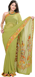 Olive-Green Sari with Kashmiri Floral Embroidery on Anchal and Border
