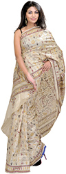 Beige Sari with Kantha Stitched Embroidered Folk Figures Inspired by Warli Art