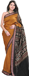 Topaz-Brown Bomkai Sari from Orissa with Hand-Woven Booties and Rudraksha Border