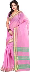 Plain Flamingo Pink Sari with Golden Thread Weave on Border