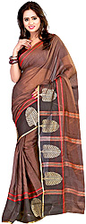 Plain Sari from Surat with Woven Leaves on Border