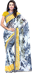 Yellow and Gray Floral Print Sari from Surat with Patch Border