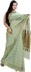 Leaf-Green Kora Sari from Banras with Leheria Weave