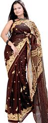 Deep-Mahogany Sari from Jaipur with Printed Peacocks and Sequins