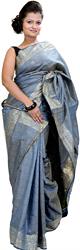 Twilight-Blue Banarasi Tanchoi Sari with Sequins
