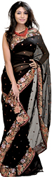 Jet-Black Sari with Parsi Embroidered Flowers on Border