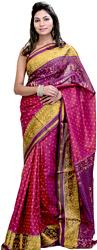 Persian-Red and Violet Patan Patola Sari from Gujarat with Ikat Weave