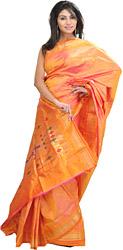 Firecracker-Orange Paithani Sari with Hand Woven Peacocks on Anchal