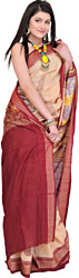 Beige and Red Bomkai Sari from Orissa with Hand Woven Chakras and Rudraksh Border