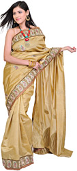 Mustard-Gold Wedding Sari from Banaras with Zardozi Embroidered Paisleys