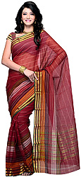 Plain Sari from Surat with Woven Stripes