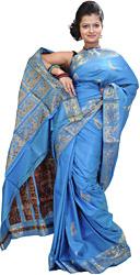Swedish-Blue Baluchari Sari from Bengal Depicting Mythological Episodes