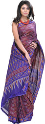 Violet-Quartz and Blue Ikat Sari Hand-Woven in Pochampally