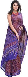 Violet-Quartz and Blue Ikat Sari Hand-Woven in Pochampally