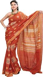 Orange-Rust Bomkai Sari from Orissa with Hand Woven Chakras