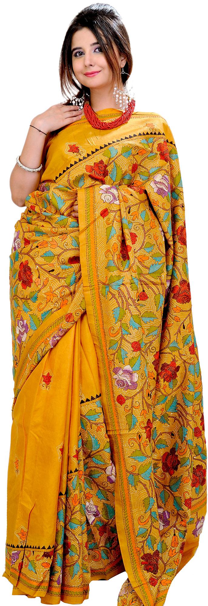 Sunflower yellow kantha sari from kolkata with hand
