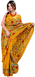 Sunflower-Yellow Kantha Sari from Kolkata with Hand-Embroidered Flowers