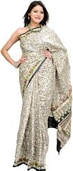 Off-White Floral Print Sari with Plain Border