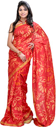Poppy-Red Patan Patola Sari Hand-Woven in Gujarat