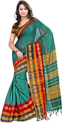 South-Cotton Sari with Woven Flowers on Border and Aanchal