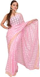 Phulkari Embroidered Sari from Punjab with Golden Border