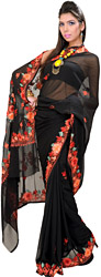 Jet-Black Kashmiri Sari with Ari Embroidered Flowers