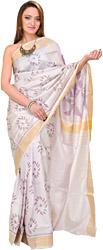 Gray-Lilac Patan Patola Ikat Sari Hand-Woven in Gujarat