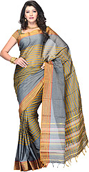 Steel-Gray Hand Woven South-Cotton Sari with Woven Striped and Golden Border