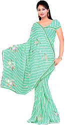 Pool-Green Printed Leheria Sari with Embroided Flowers