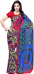 Multi-Color Sari from Surat with Plain Border and Printed Spirals