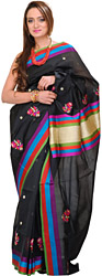 Pirate-Black Banarasi Sari with Multi-colour Border and Hand-Woven Flowers