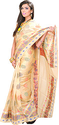 Banarasi Sari with All-over Hand-Woven Lotuses in Multi-Colored Thread