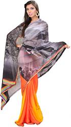 Designer Sari from Surat with Printed Raj Kapoor and Nargis (Shree 420)