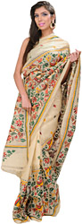 Cloud-Cream Kantha Sari from Kolkata with Hand Embroidered Birds and Foliage