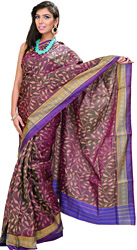 Deep-Purple Patan Patola Sari from Gujarat with Ikat Weave