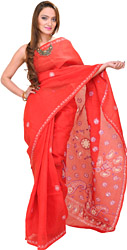 Tomato-Red Hand-Embroidered Chikan Sari from Lucknow