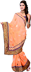 Dusty-Coral Wedding Sari with Metallic-Thread Embroidered Patch Border
