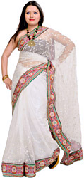 Bright-White Wedding Sari with Patch Border and Embroidered Sequins