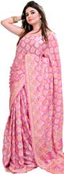 Aurora-Pink Bandhani Sari from Jodhpur with Woven Flowers All-Over
