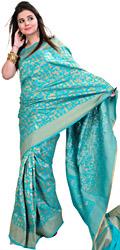 Viridian-Green Banarasi Sari with Woven Egyptian Motifs in Golden Thread