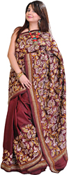 Oxblood-Brown Kantha Sari from Kolkata with Hand Embroidered Paisleys and Foliage