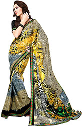 Multi-Colored Designer Sari with Patch Border and Printed Krishna on Aanchal