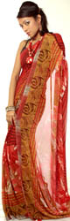 Sharon-Rose Floral Printed Sari from Surat