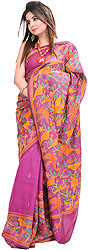 Magenta-Haze Kantha Sari from Kolkata with Hand Embroidered Birds and Foliage