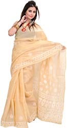 Honey-Peach Chikan Sari from Lucknow with Hand-Embroidered Flowers