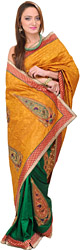 Pale-Gold and Green Banarasi Sari with Embroidery in Self and Paisley Patches