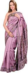 Lavender-Mist Baluchari Sari from Kolkata Depicting Hindu Mythological Episodes