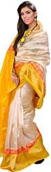 Ivory-Cream Plain Banarasi Tissue Sari With Woven Flowers and Wide Yellow Border